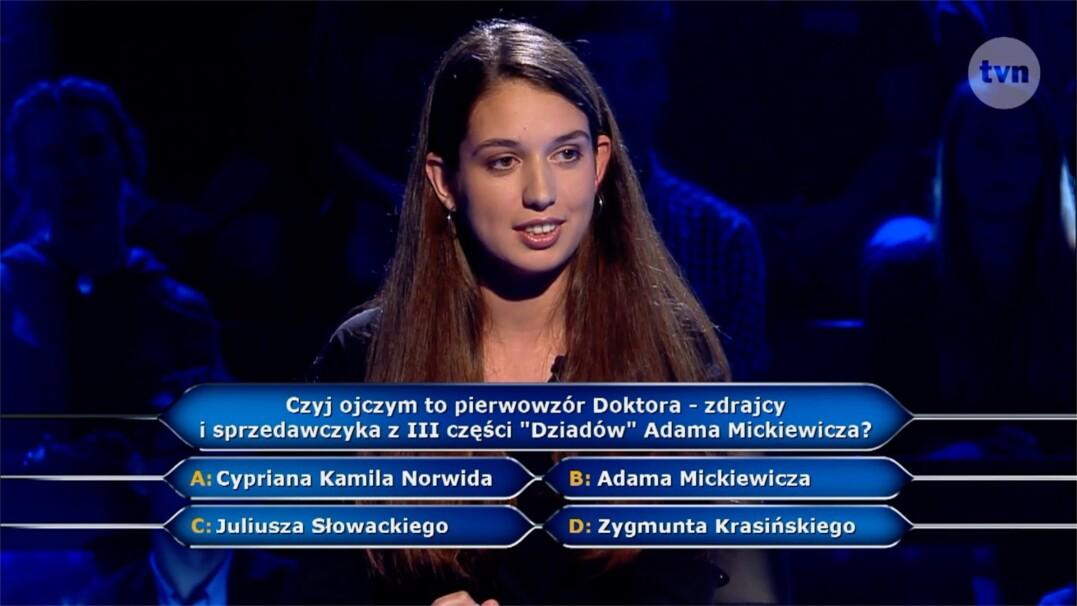 """Pytanie za 40 tysięcy złotych o bohatera III części """"Dziadów"""""""