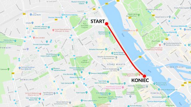 Trasa defilady googlemaps