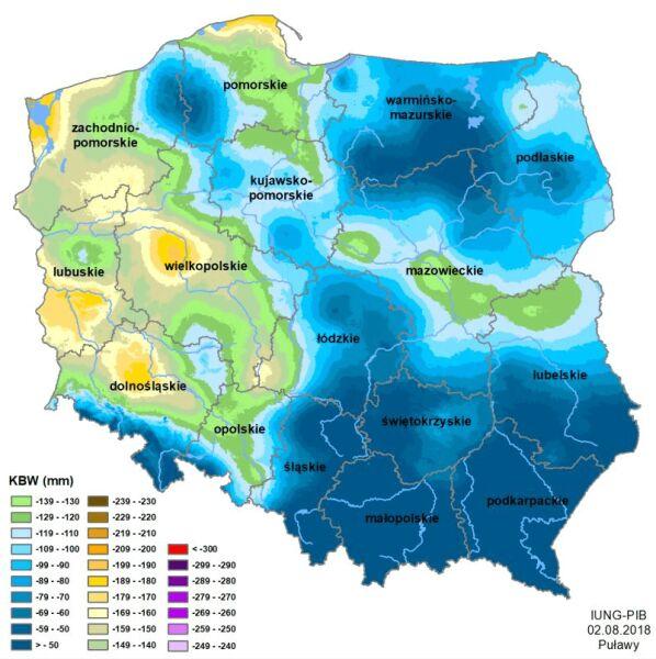 Klimatyczny Bilans Wodny, stan na 2 sierpnia 2018 (Instytut Uprawy Nawożenia i Gleboznawstwa)