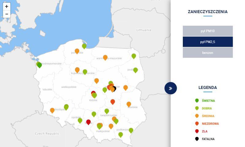 Stężenie pyłu PM2,5 w Polsce po godz. 20