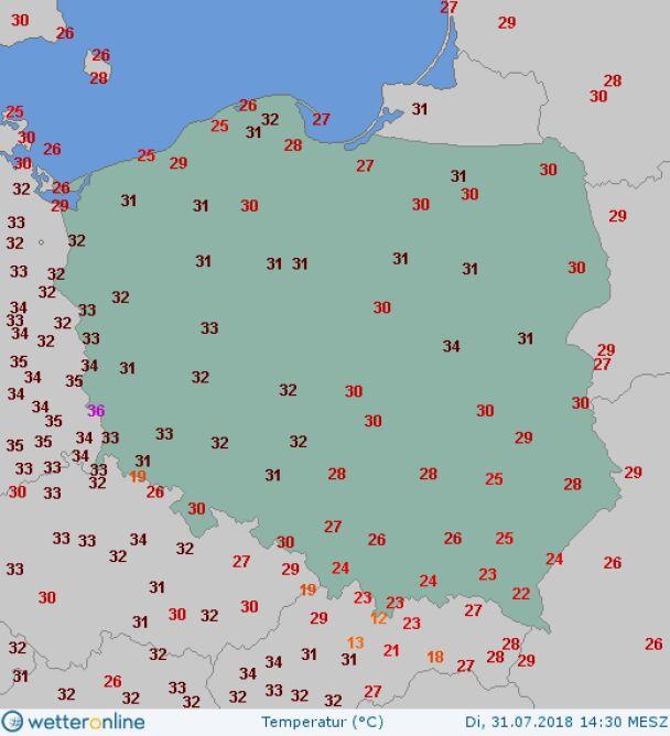 Temperatura maksymalna 31 lipca 2018 roku (wetteronline.de)